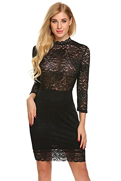 30049d92c65 Bulges Women Hollow-Out See-Through Floral Lace Formal Sexy Vintage  Cocktail Mini Dress at Amazon Women's Clothing store:
