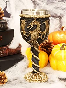 Ebros Gift Medieval Flying Dragon Skeleton Fossil Ossuary Goblet Wine Chalice 7oz Capacity Dungeons And Dragons Skeletal Spine Bones Halloween Party Decorative Accent