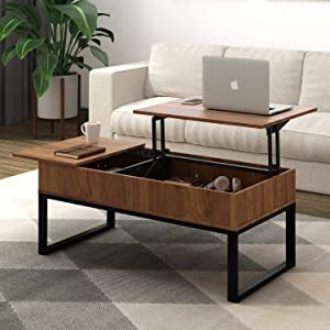 WLIVE Wood Coffee Table with Adjustable Lift Top Table, Mental Frame Hidden Storage Compartment for Home Living Room
