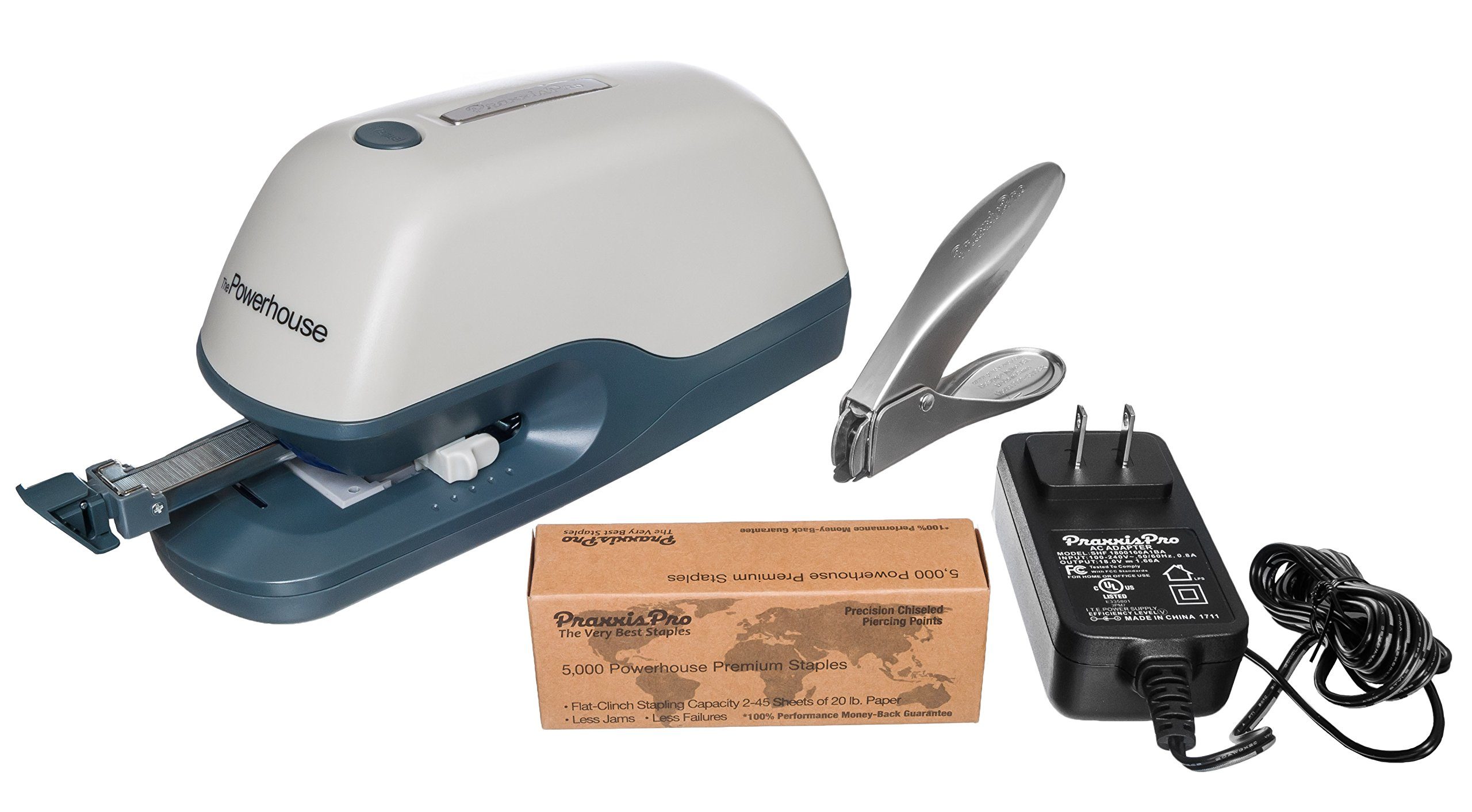 PraxxisPro - Powerhouse Flat-Clinch Electric Stapler - Premium Heavy Duty Stapler for 2 to 40 sheets, uses standard staples.