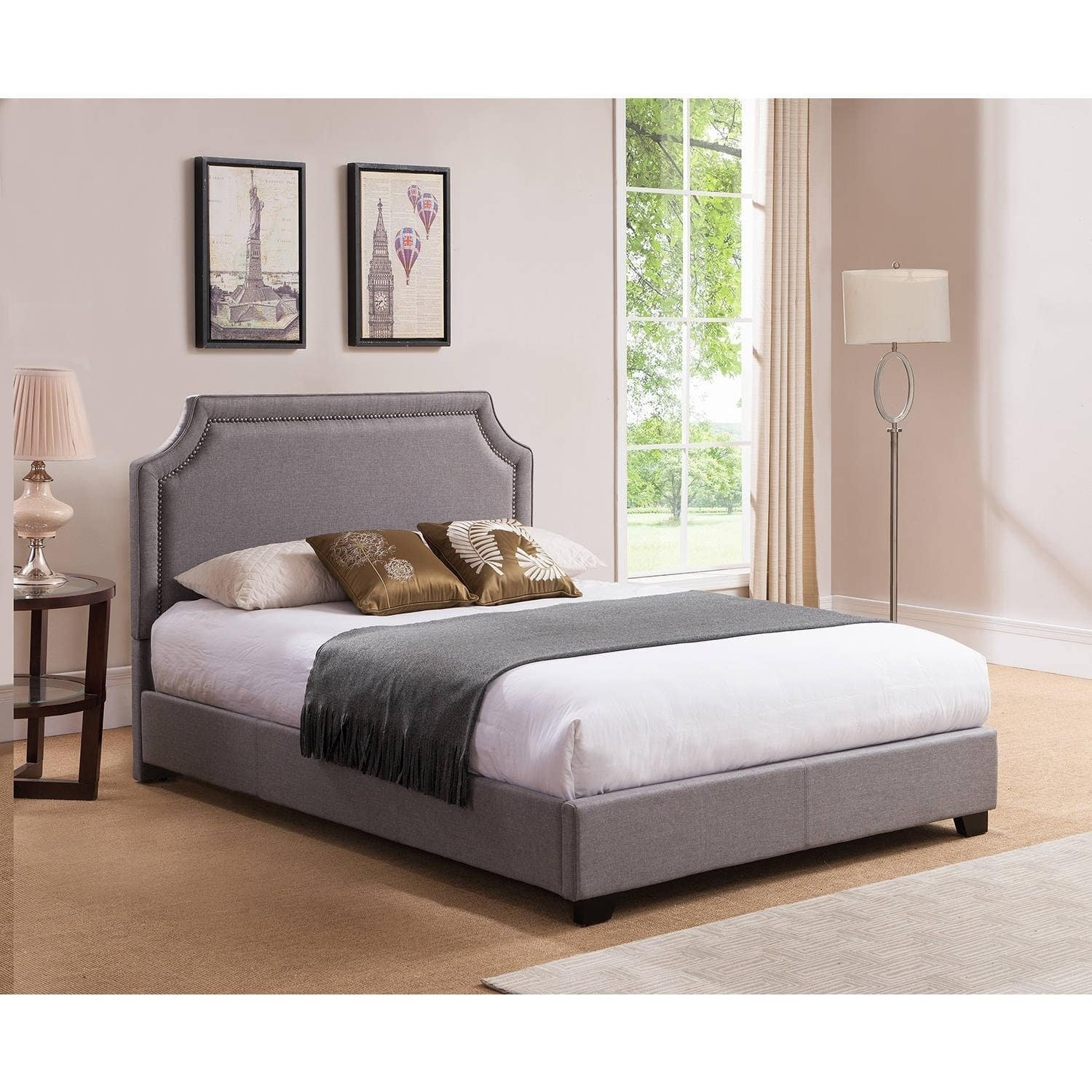 Amazon.com: Modern Upholstered Bedroom Platform Bed, Wooden Frame and Grey Linen Fabric Construction, Queen Size + Expert Guide: Kitchen & Dining