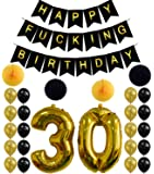 30th Birthday Party Decorations Kit,Happy Birthday Banner,30th Gold Number Balloons For 30 Years Old Party Supplies
