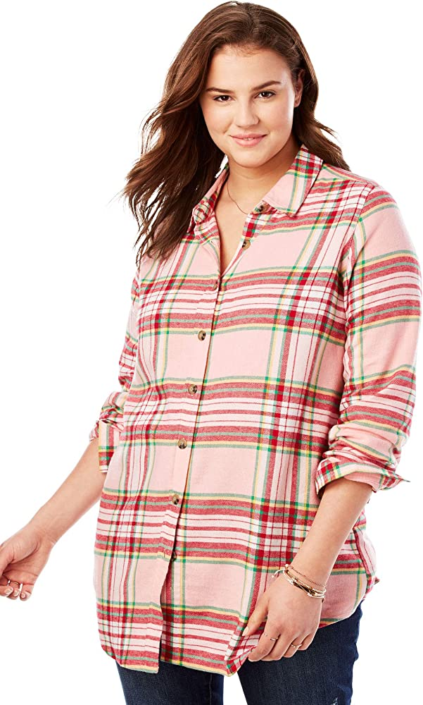 Woman Within Womens Plus Size Classic Flannel Shirt