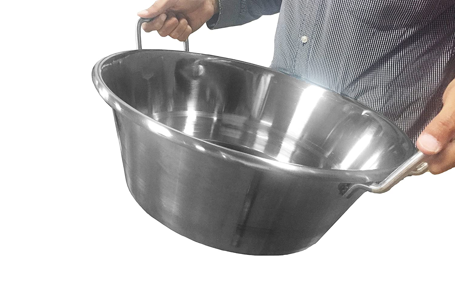 Bioexcel Cazos Para Carnitas Cooking Wok - Cazos Mexicanos Heavy Duty Stainless Steel Pot - Choose Many Sizes - This One is (Diameter 18