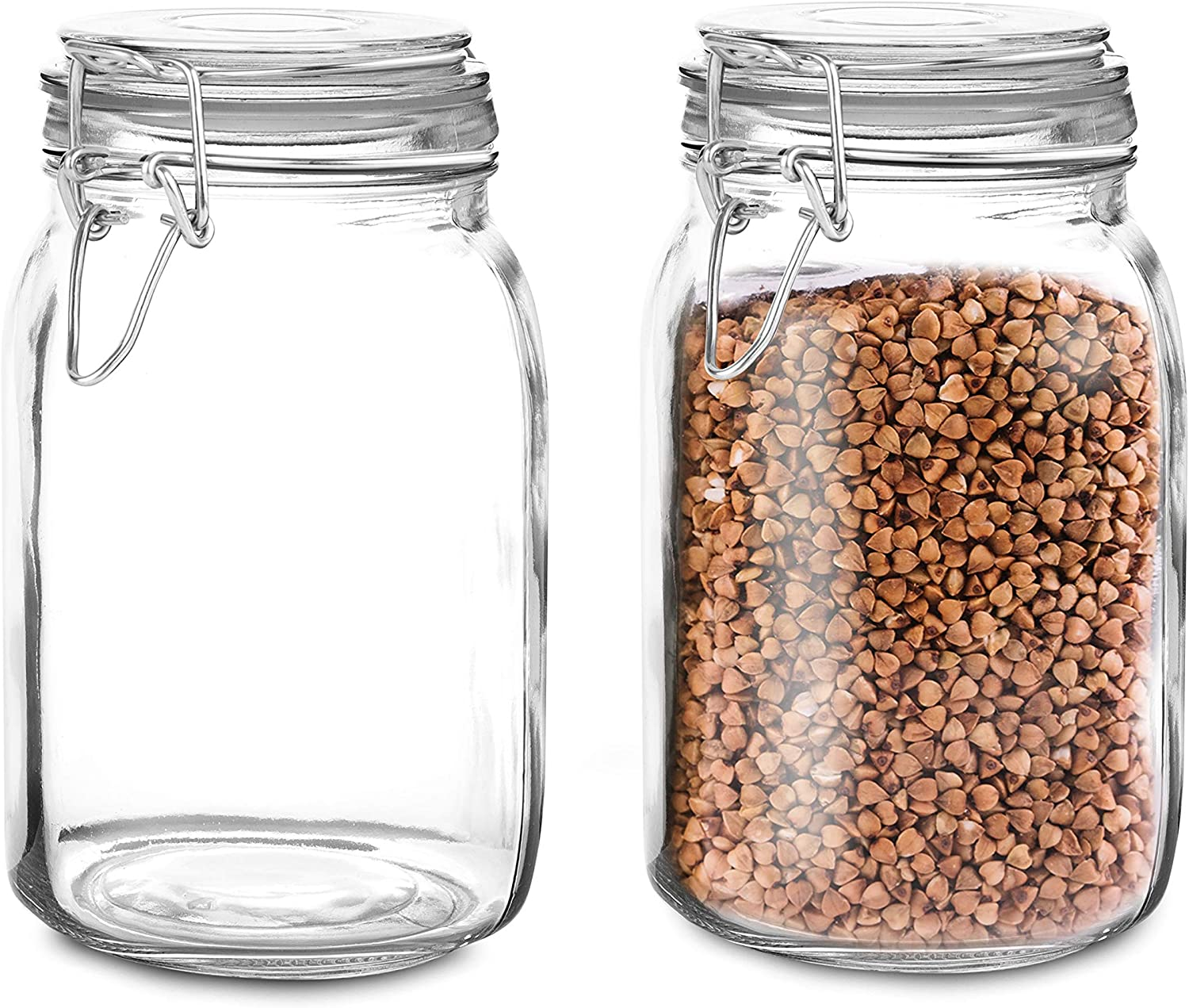 Set of 2 Large Glass Mason Jar with Lid (3 Liter) | Airtight Glass Storage Container for Food, Flour, Pasta, Coffee, Candy, Dog Treats, Snacks & More | Glass Organization Canisters 100 Ounces