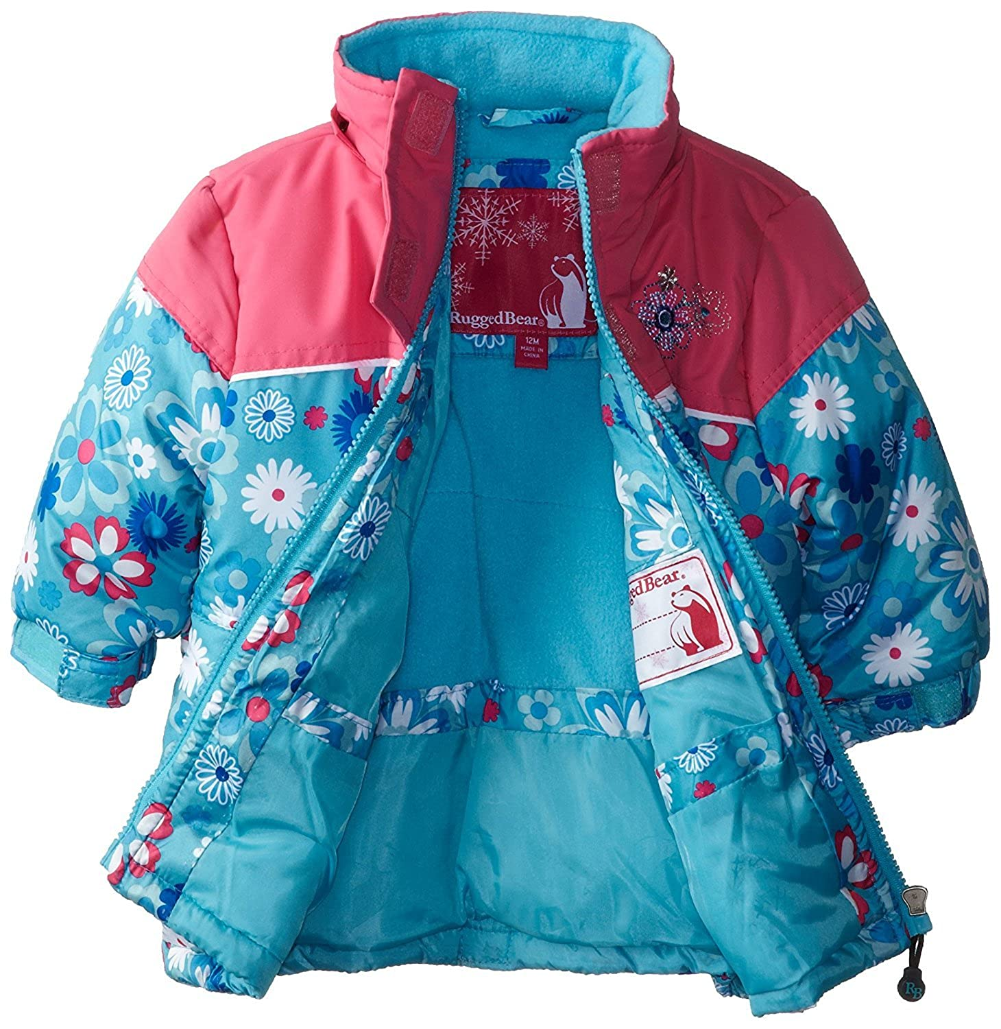 Rugged Bear Little Girls Floral Printed Lined Winter Hooded Jacket Coat,2T-6x
