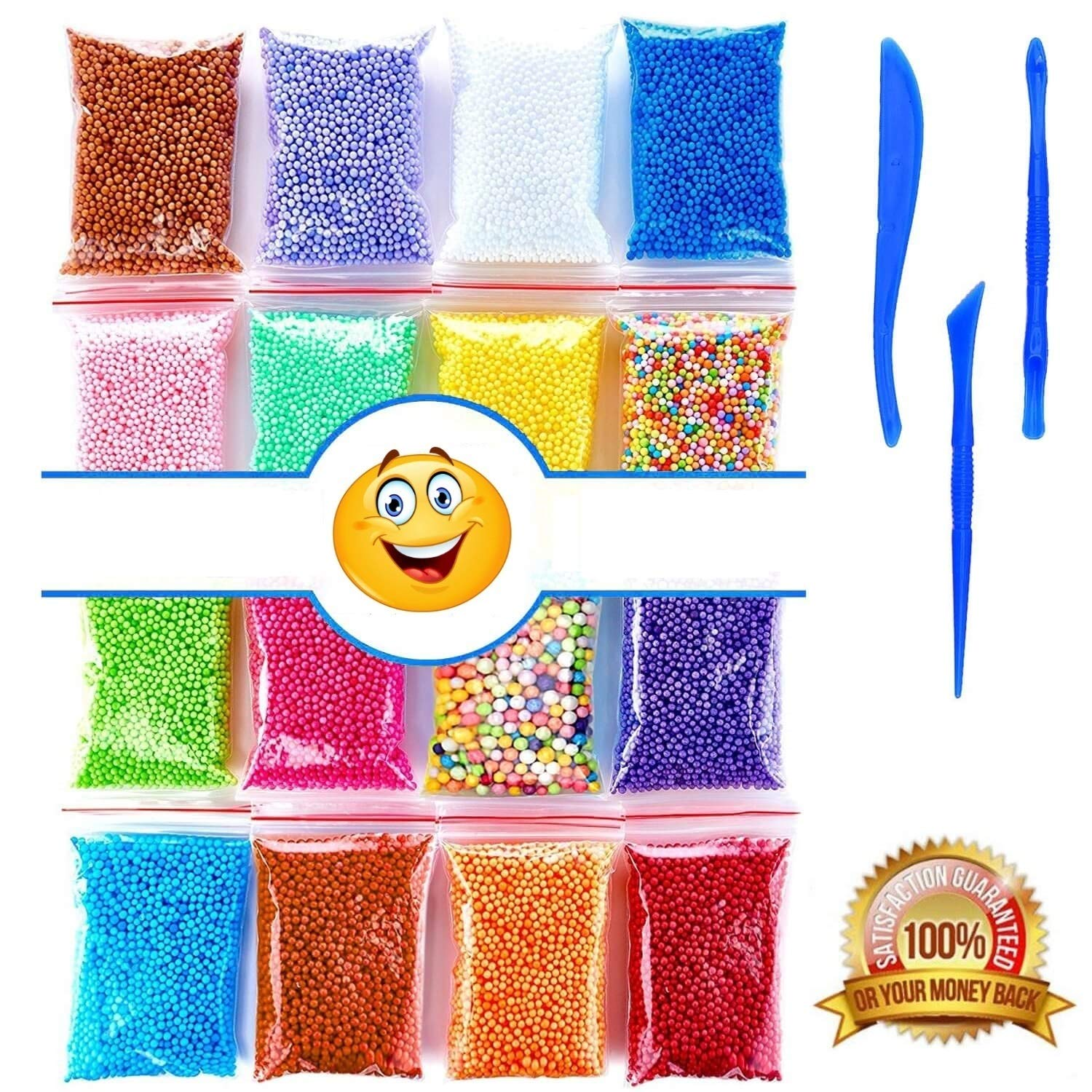 Foam Beads for Slime | Micro Floam Beads 16 Pack | Craft Foam Beads for Soft Clay | Colorful Micro Foam Beads Balls for DIY Slime | 16 Bags (80000) Foam Balls and 3 Slime Tools | Newest 2018 | I-BARS 4336848766