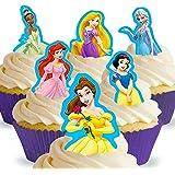 Cakeshop 12 x Vorgeschnittene und Essbare Disney Princess Kuchen Topper (Tortenaufleger, Bedruckte Oblaten, Oblatenaufleger)
