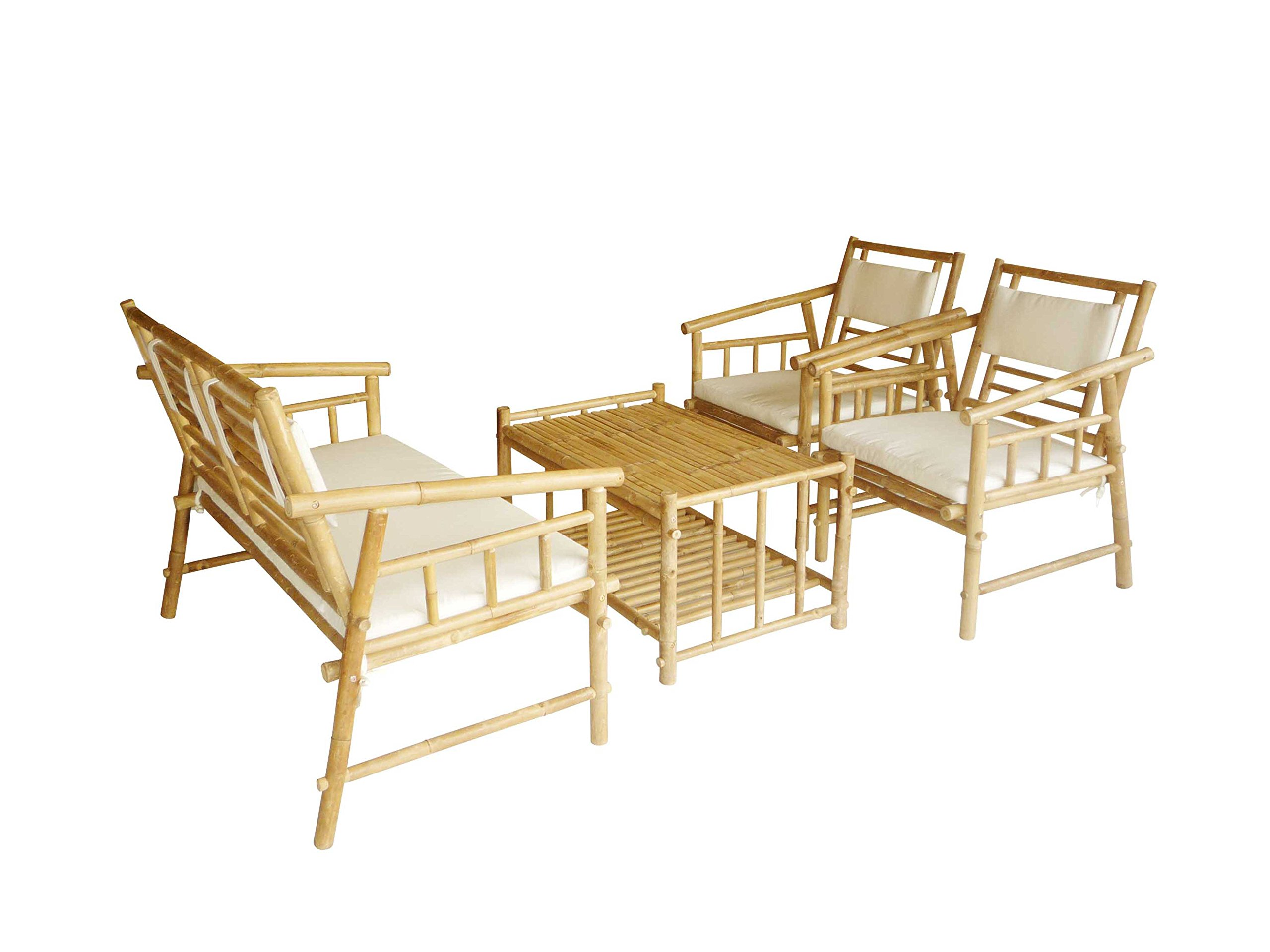 Zero Emission World Set-015 Bamboo Sofa Set (1 Love Seat, 2 Chairs, 1 Table) 1 Set Packed In 3 Cartons, Natural, 35X22X18