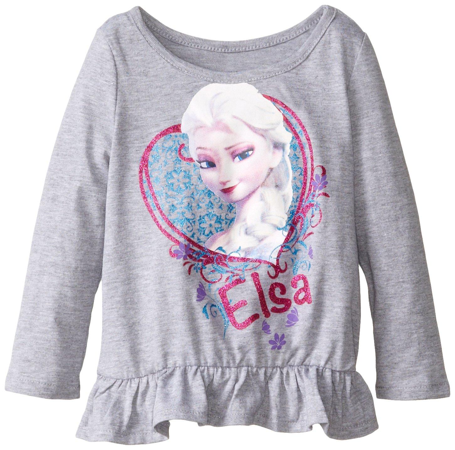 Frozen Little Girls' Toddler Elsa Girls Long Sleeve Peplum Top, Heather Grey, 4T