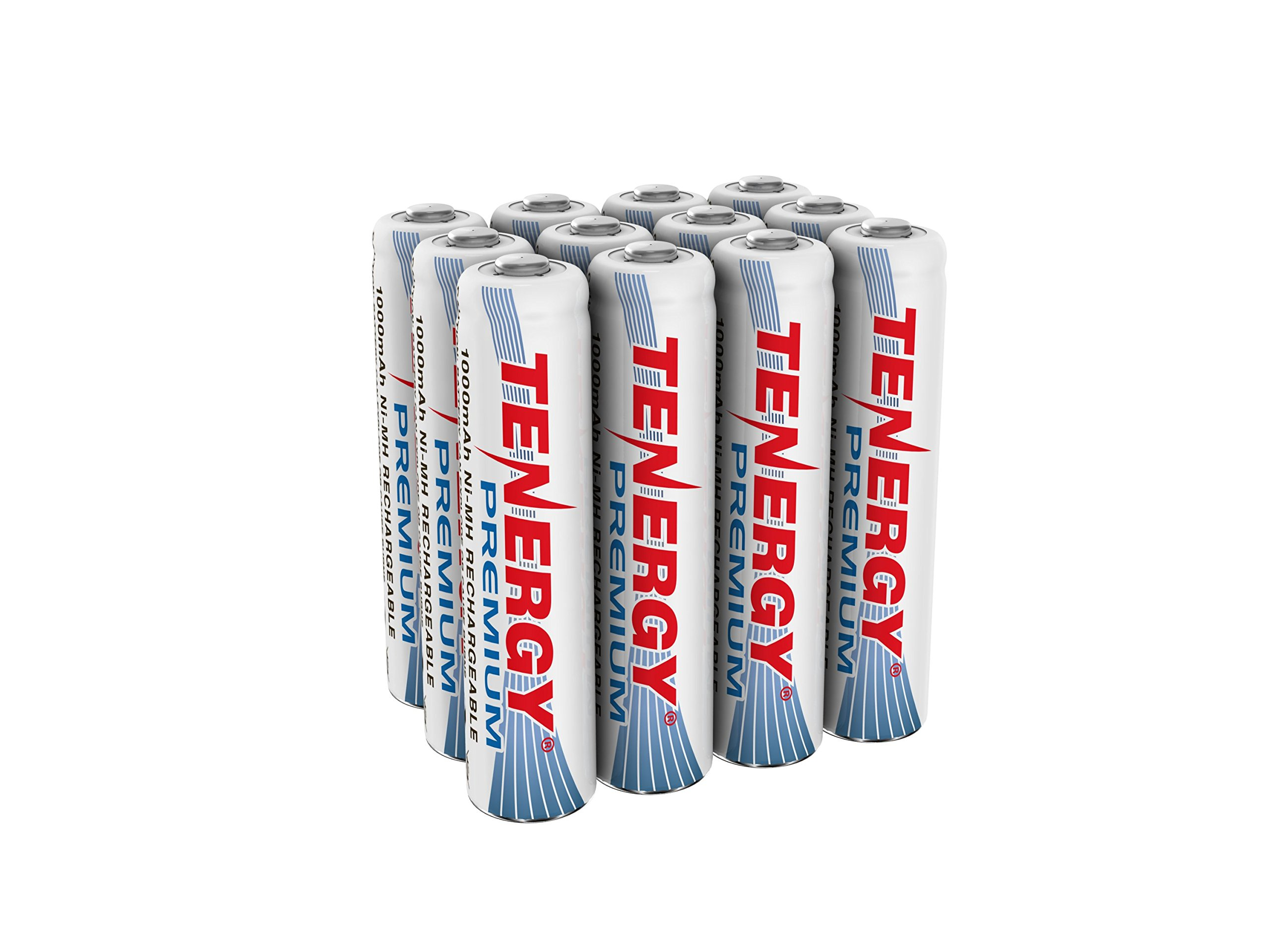 Tenergy Premium Rechargeable AAA Batteries, High Capacity 1000mAh NiMH AAA Batteries, AAA Cell Battery, 12-Pack by Tenergy