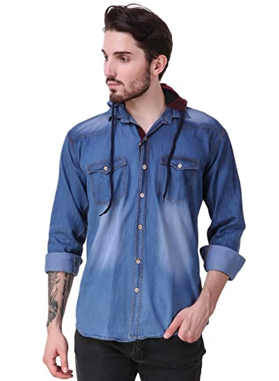 d217634067 Lafantar men blue cotton denim blend slim fit hooded shirt jpg 402x550  Hooded denim mens shirts