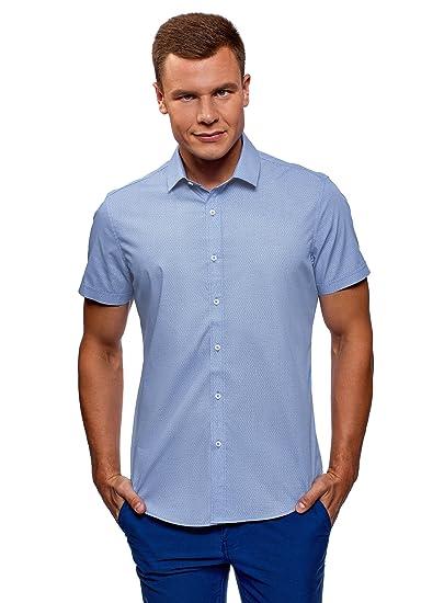 oodji Ultra Hombre Camisa Ajustada Manga Corta, Azul, 38cm / ES 44 / XS