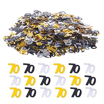 Haley Party 70th Birthday Decorations Anniversary 70 Confetti Metallic Foil For