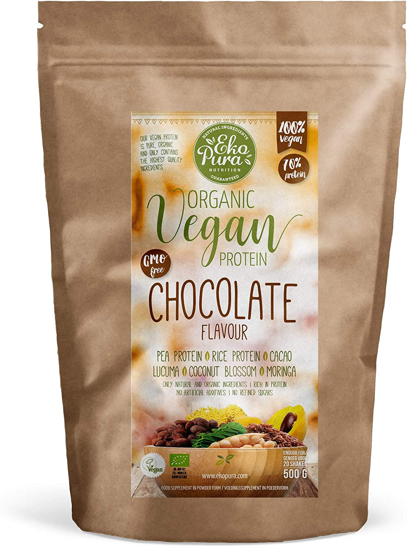 Proteína Vegana Natural - Chocolate - 76% de Proteina - Ingredientes orgánicos (500g)