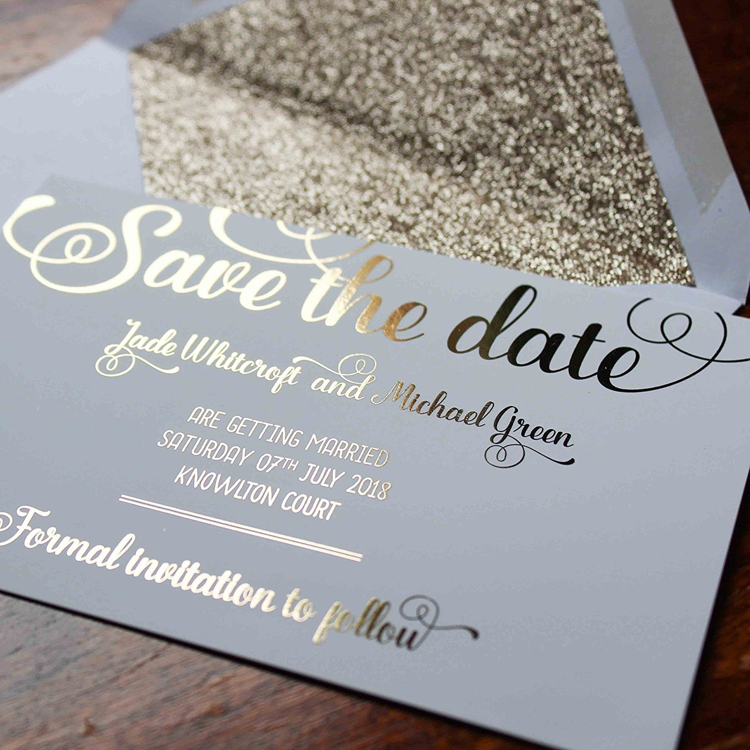 Envelope Invitations made with Foil Personalised Wedding Save the Date Magnets