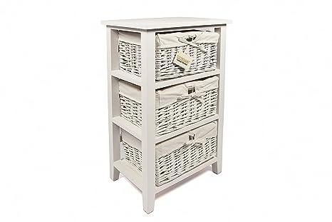 Woodluv cassettiera in legno con cassetti in vimini per