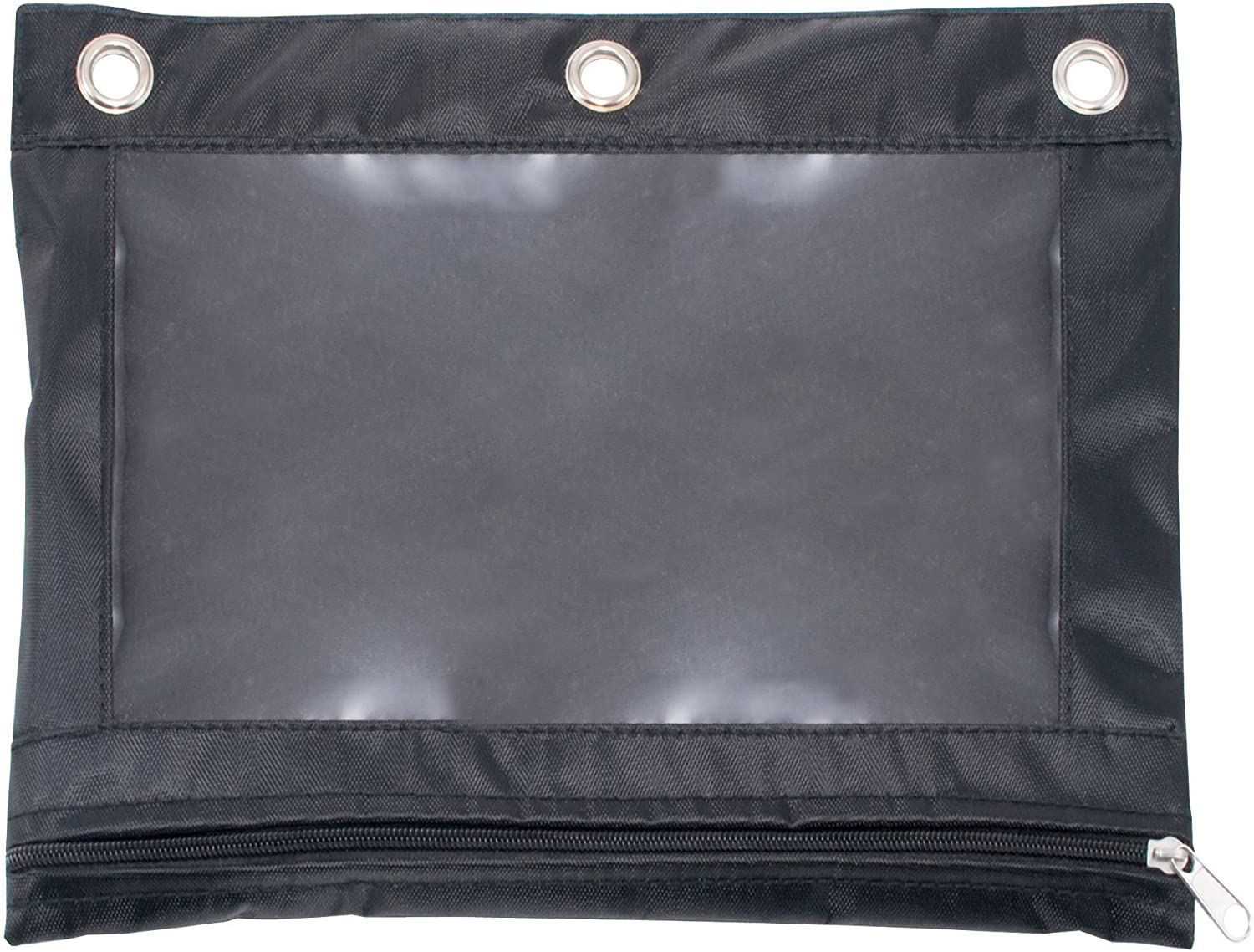 """ADVANTUS Zippered Binder Pencil Pouch with Rivets, 7-3/8"""" x 10"""", Black with Clear Front, Pack of 3 (63067)"""