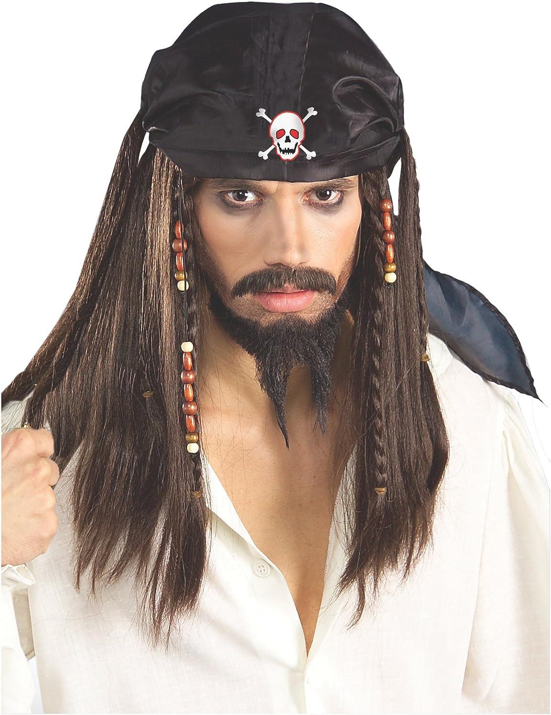 Pirate Wig Buccaneer Caribbean Jack Sparrow Black Beaded Bandana Red Halloween