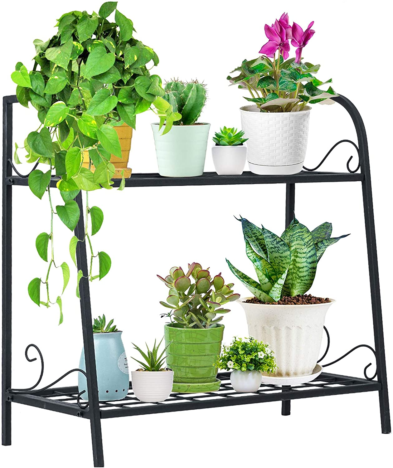 Indefree Metal Plant-Stands Indoor-Outdoor 2-Tier - Plant Flower Pot Display Rack Stand Shelf Multifunctional Home Storage Organizer Shelf for Home, Garden, Patio,Yard (Black)