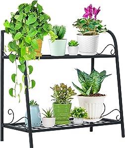 Indefree Metal Plant-Stands Indoor-Outdoor 2-Tier - Plant Flower Pot Display Rack Stand Shelf Multifunctional Home Storage Organizer Shelf for Home, Garden, Patio,Yard (Black)