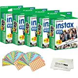 Fujifilm INSTAX Wide Instant Film 100 Pack - 100 Sheets - (White) for Fujifilm Instax Wide Cameras + Frame Stickers and Microfiber Cloth Accessories