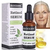 retinol Serum, con ácido hialurónico Serum, Vitamina E, mejor Serum Antienvejecimiento para líneas finas, fältchen y acné, para todos los tipos, 30ml