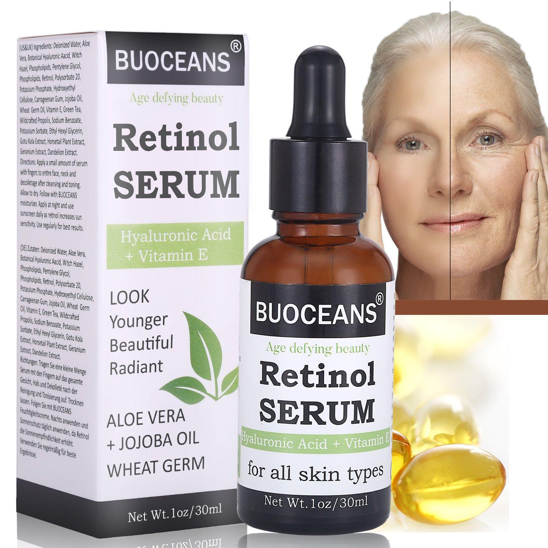 Retinol Serum, Hyaluronic Acid Serum, Professional Anti Aging Face Serum, Anti-Wrinkle, Reduce Fine Lines Redness, Works Best with Vitamin E, Hyaluronic Acid, Jojoba Oil 1oz