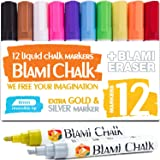 Blami Arts Chalk Markers Reversible Tip for Non-Porous Chalkboard and Bistro Glass Windows - 12 Pack Erasable Neon Bright Non-Toxic Paint -Extra GOLD & SILVER Liquid Ink Pens - Eraser Sponge included