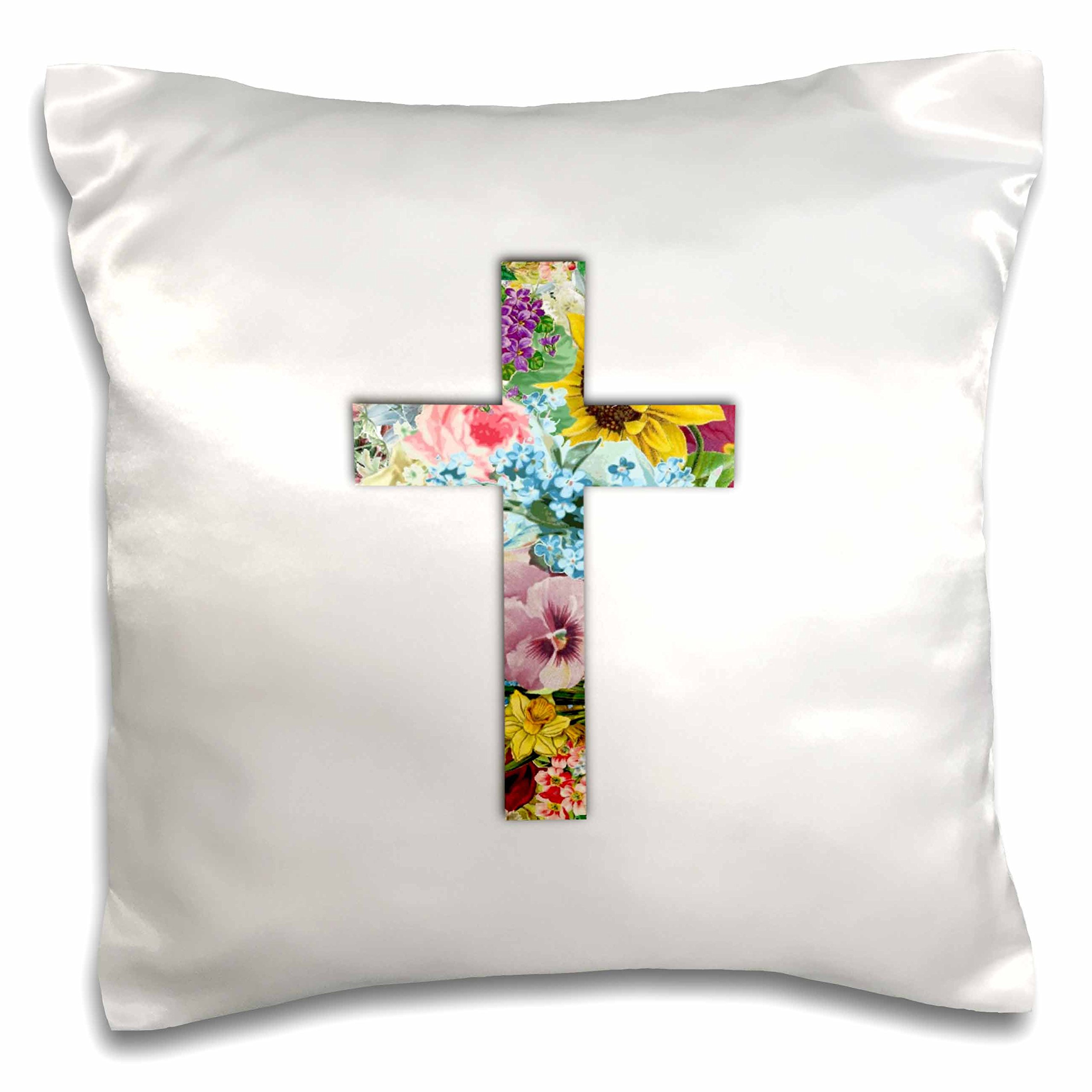 3D Rose Floral Christian Cross Colorful Girly Flower Pattern Religious Symbol Pillow Case, 16'' x 16'' by 3dRose