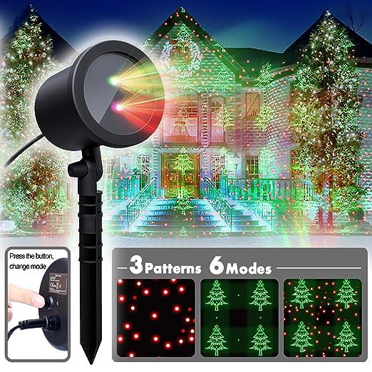 Moderne Weihnachtsbeleuchtung Außen.Coowoo Weihnachtsbeleuchtung Led Weihnachts Projektor Beleuchtung Für Innen Und Außen Rot Grün Sterne Mit 6 Mustern Und Timerfunktion