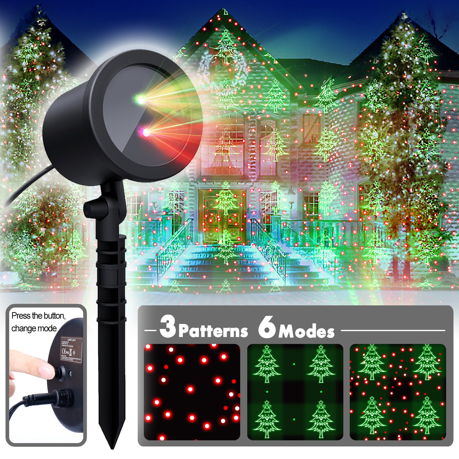 Christmas Laser Light,Red and Green Motion Laser Lights with 6 modes Choosable-Static/Flickering/Green Only/Red Only/Green&Red Both, Landscape Projector for Holiday,Especially Christmas Decorations