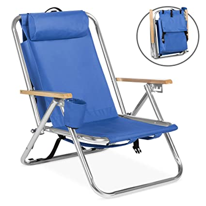 f785ea79b7 Best Choice Products Backpack Beach Chair Folding Portable Chair Blue Solid  Construction Camping New