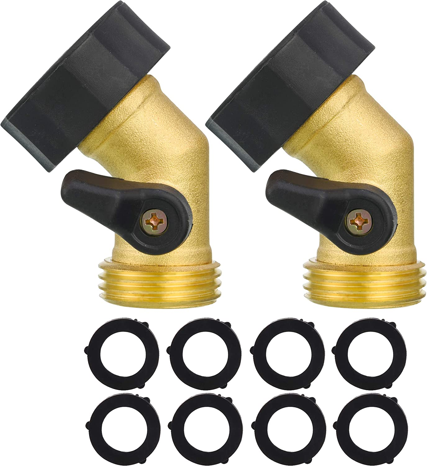 M MINGLE Garden Hose Elbow Connector, Hose Shut Off Valve Gooseneck, 45 Degree, 3/4 Inch, 2 Pack with Extra 8 Washers