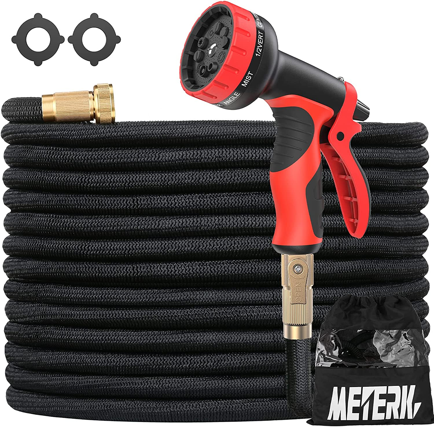 Expandable Garden Hose 50FT, Meterk Durable Flexible Water Hose with 10 Function Nozzle 3-Layers Latex Strength Fabric 3/4 Inch Solid Brass Fittings No-Kink Lightweight Perfect for Watering & Washing
