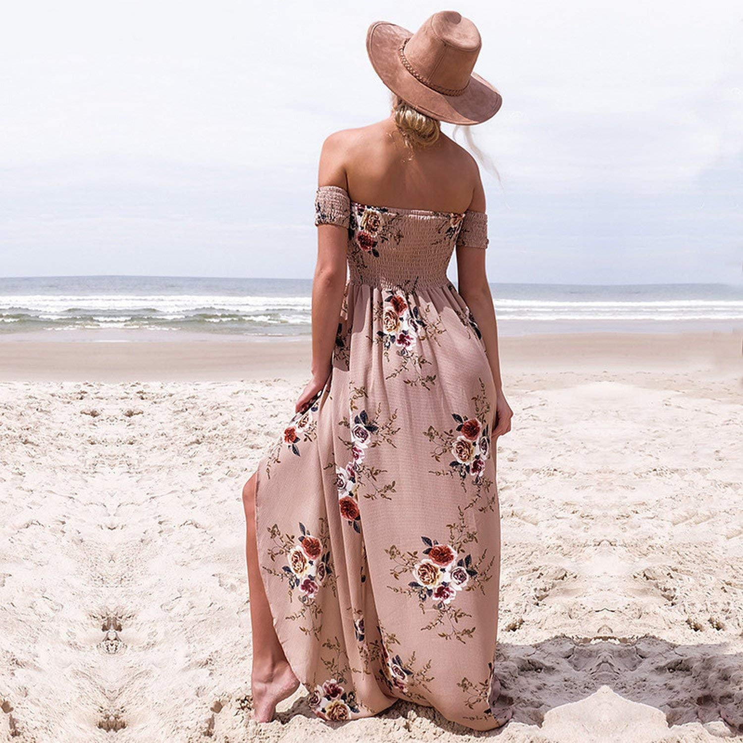 72d785637a Style Dress Women Off Shoulder Beach Dresses Floral Print Vintage Maxi Dress  Vestidos