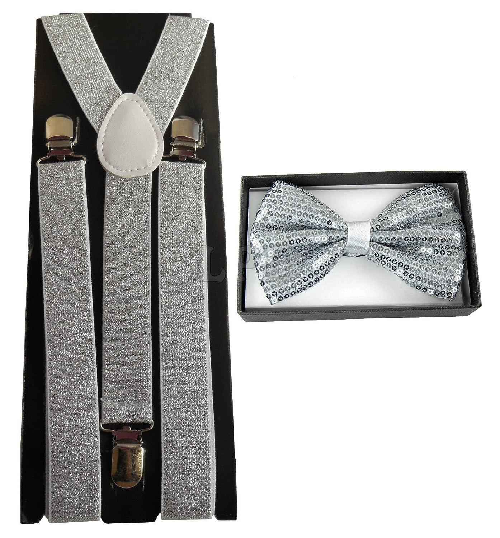 4everStore Unisex's Sequin Bow tie & Suspender Sets (Silver)
