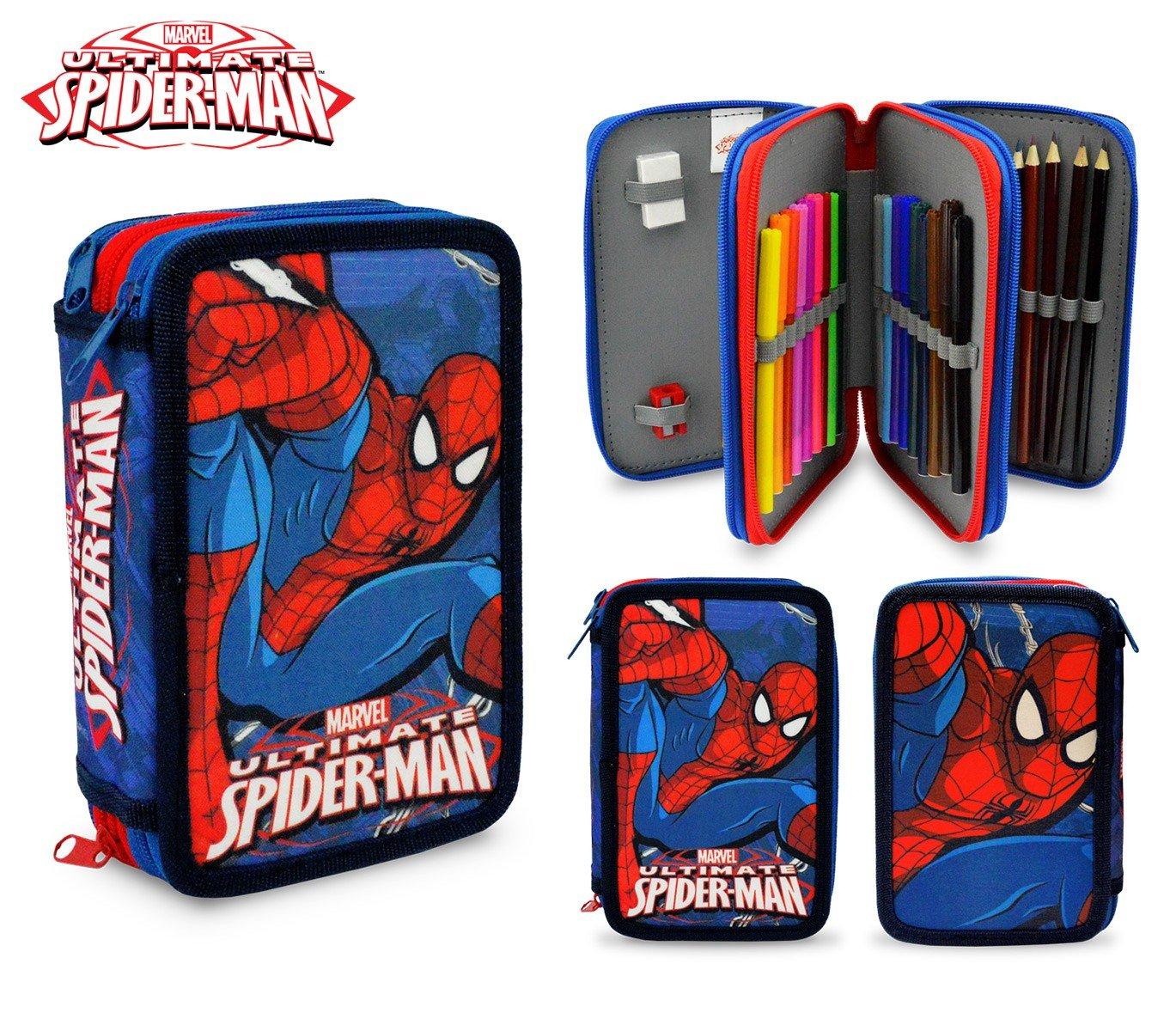 MEDIA WAVE store SP16109 Astuccio portapastelli Spiderman 3 Cerniere 43 pz Scuola Colori