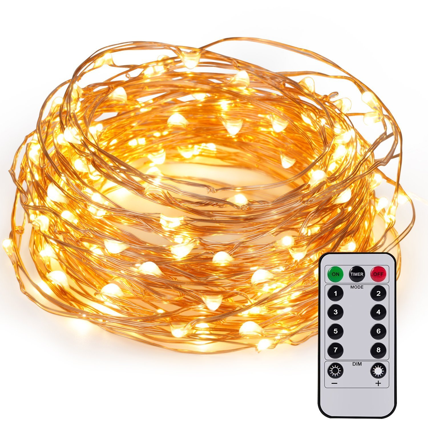 kohree 60leds string lights with remote control aa battery