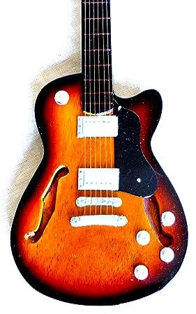 Guitarra en miniatura decorativa Guitarra Guitar Gibson turquesa 24 cm mano de madera # 135