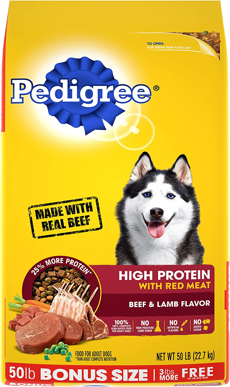 PEDIGREE High Protein Adult Dry Dog Food Beef and Lamb Flavor Dog Kibble, 50 lb. Bonus Bag