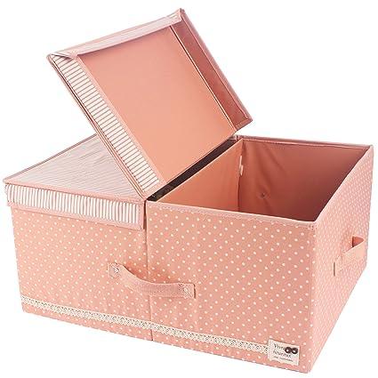 JJ POWER Collapsible Clothes Storage Box, Under Bed Organizer Drawer (Pink  Dot)