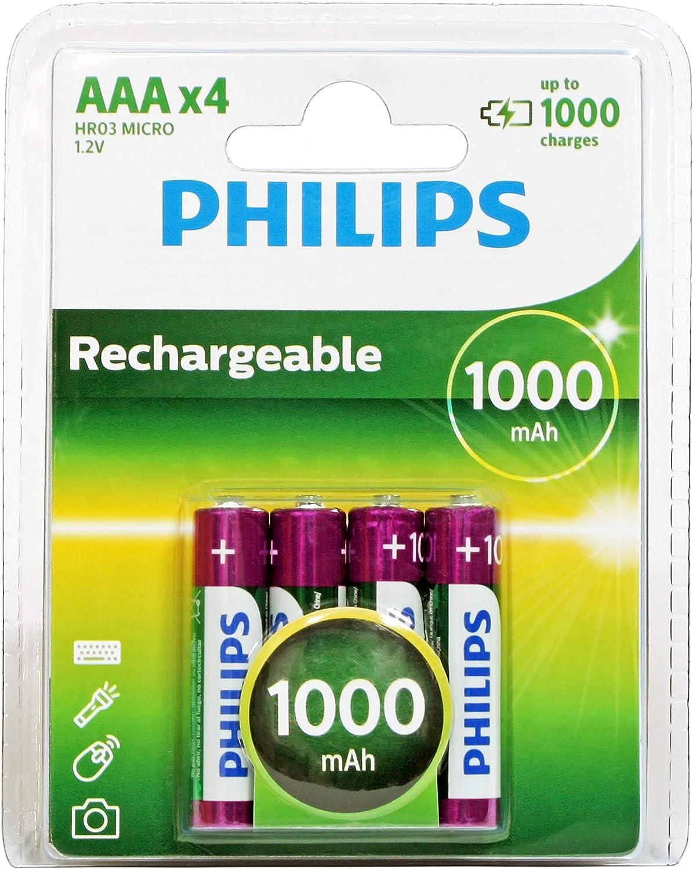 Pilas recargables Philips MultiLife NiMH AAA 1000mAh (x4)