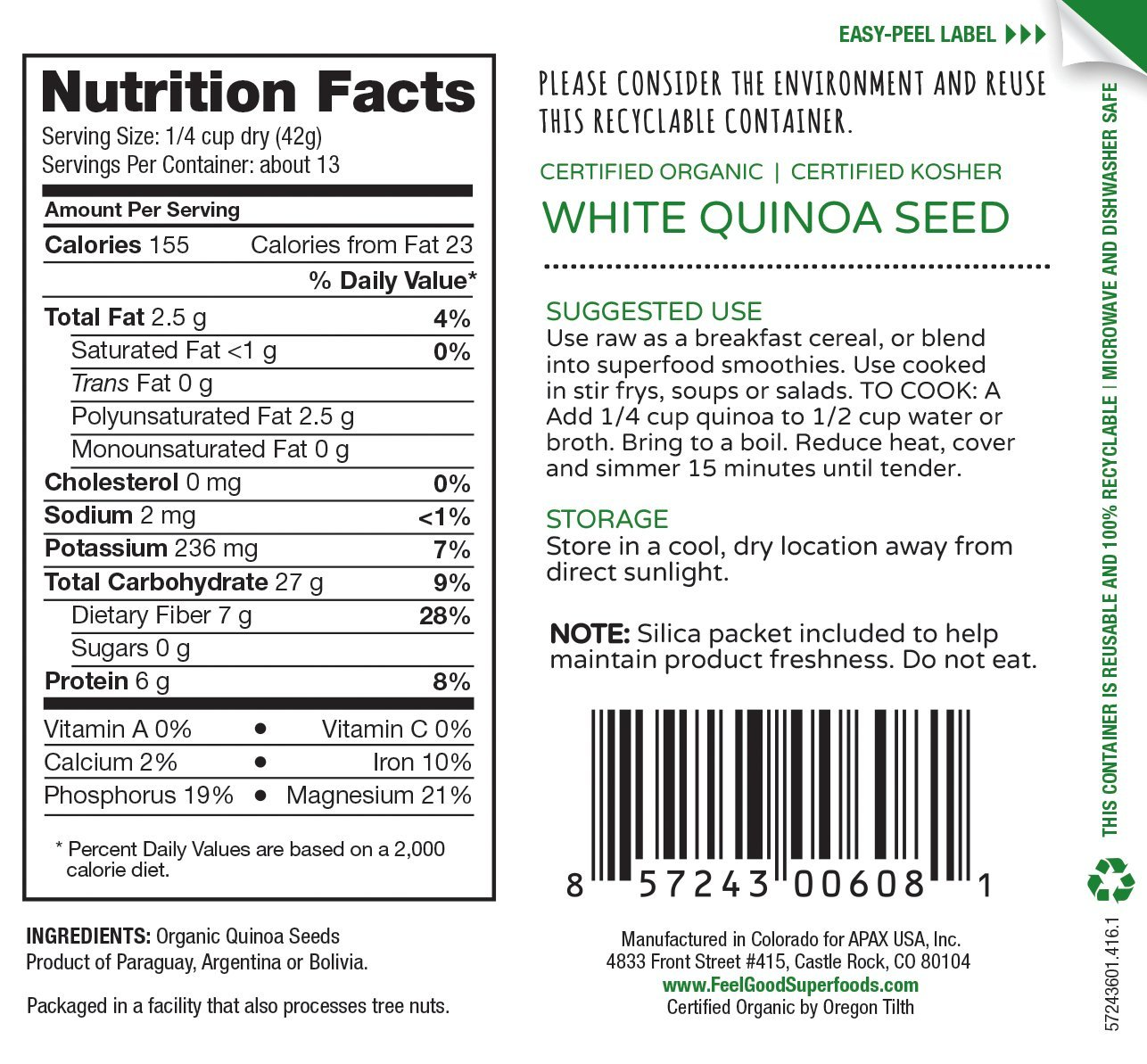 Feel Good Super Foods USDA Organic White Quinoa 19 Ounces