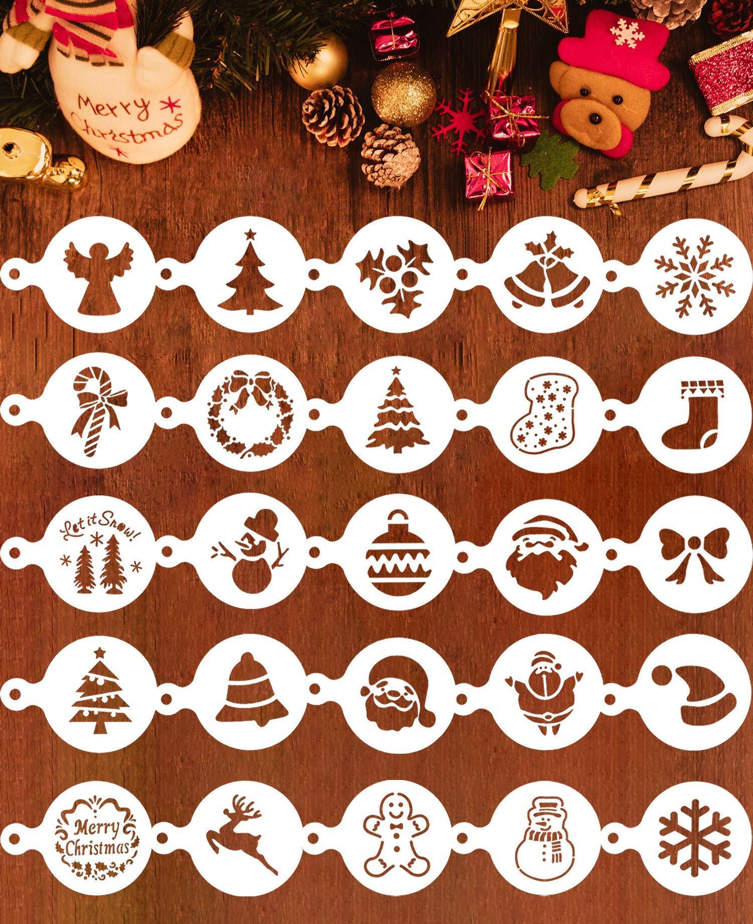 Qpout 25pcs Christmas Cookie Stencil Set, Xmas Party Cookie Fondant Coffee Decoration Embossing Mold, Santa Claus Christmas Tree Snowflake Christmas Stocking Bell Snowman Plastic Painting Templates