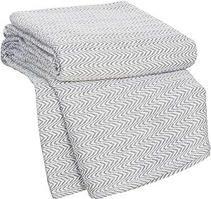 Lavish Home Chevron 100Percent Egyptian Cotton Blanket - King - Charcoal