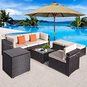 COSVALVE 8 PCS Patio Conversation Set, All-Weather Sectional Manual Weaving Rattan Wicker Sofa Outdoor Furniture Set with Cushion,Glass Table&Storage Cabinet for Garden Backyard Poolside (Brown)