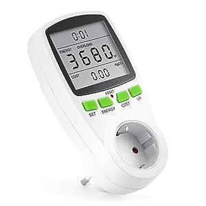 Arendo - Instrumento de medida de costes energéticos | contador de electricidad | indicador de tiempo/energía/costes | elementos de mando set/up/cost, energy | 3.680 W | protección para niños | blanco