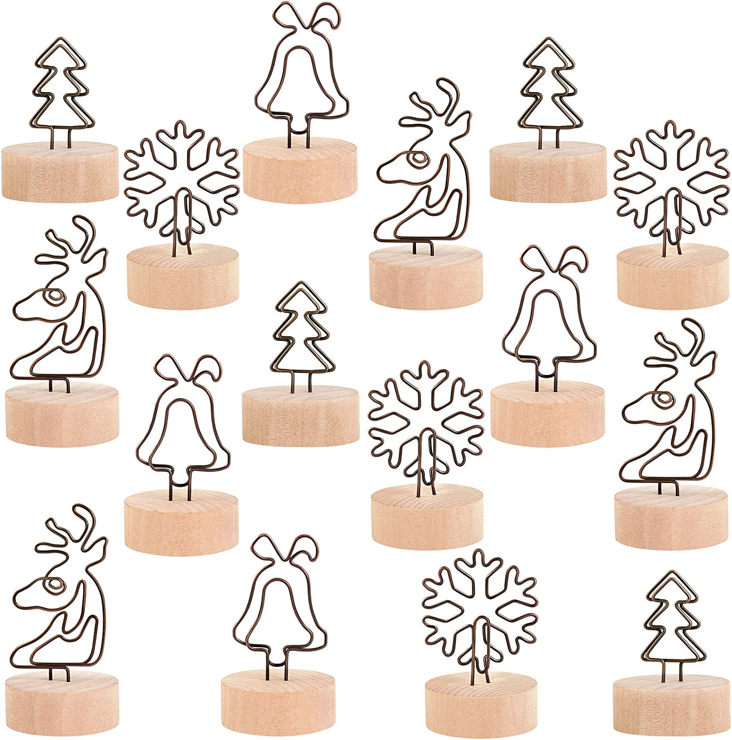 ADXCO 16 Pack Christmas Party Decoration Card Holders Wooden Base Card Holders Rustic Iron Wire Picture Picks Clip Holder 4 Shapes Picture Memo Note Photo Clip for Christmas Table Decorations: Home & Kitchen