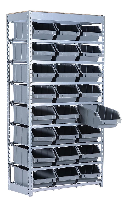 SR BIN 24 Bin Storage Rack, 64.5 X 34 X 15 Inch, Plastic Bins And Steel  Shelves/posts, Grey Powder Coat Finish, 50 Pound Capacity     Amazon.com